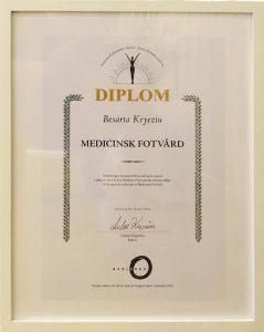 DIPLOM medicinsk fotvård Besarta Kryeziu